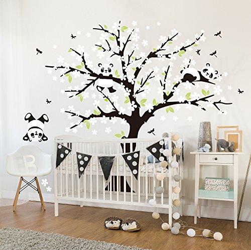 Sayala 3 Panda Wandtattoo-Wandsticker mit Floralem-Pfirsich Sakura Blumen Baum Wandbild für Mädchen/Jungen oder Baby Zimmer.2m &1.8m Wanddeko Wandtattoobaum (Weiß)