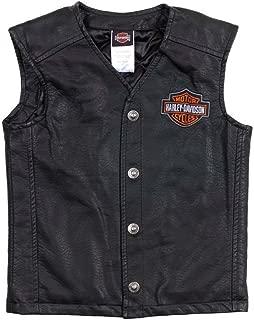 HARLEY-DAVIDSON Big Boys' Bar & Shield PU Pleather Biker Vest Black 0296072