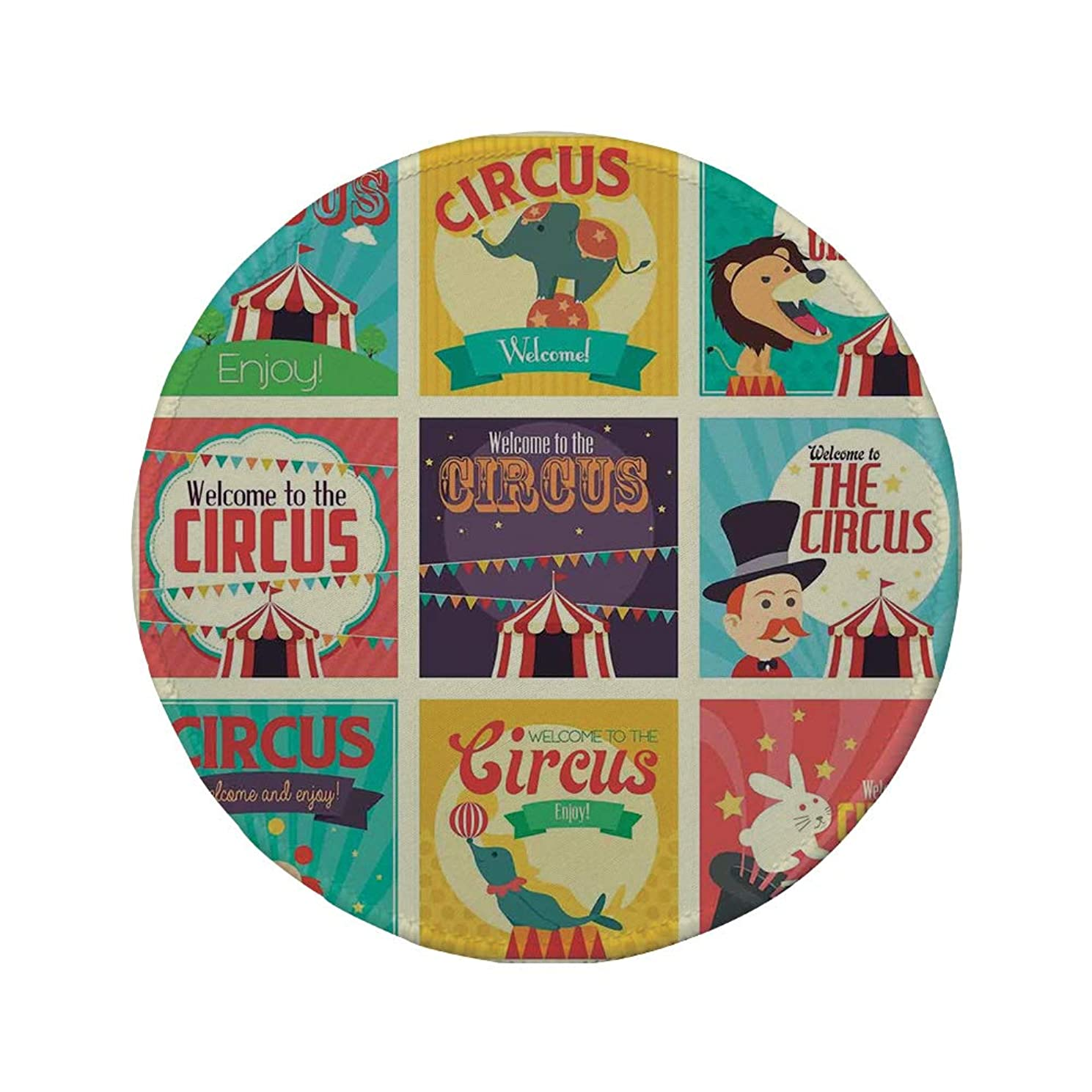 Non-Slip Rubber Round Mouse Pad,Circus Decor,Collection of Old Circus Icons Carnival Magicians Old Fashioned Nostalgic Festive Artsy Print,Multi,11.8