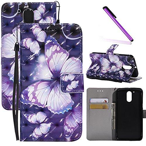 Motorola Moto G4 Plus Case, Moto G4 Case LEECOCO 3D Printing Wallet Case with Card Cash Holder Slots Wrist Strap [Kickstand] PU Leather Flip Case Cover for Motorola Moto G4 3D Purple Butterfly KT