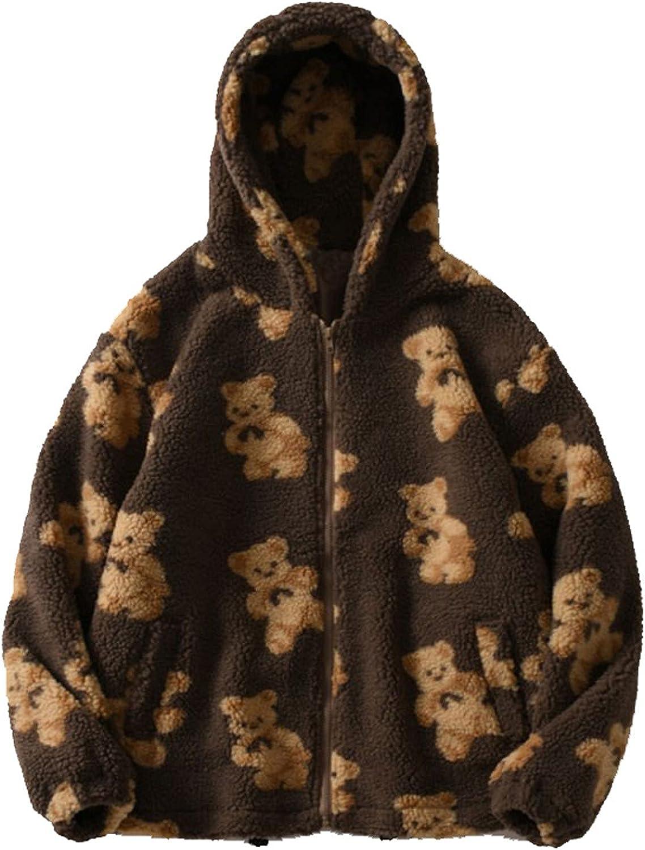 Kawaii Clothes Fall Winter Cartoon Bear Print Pullover Double-Sided Plush Zip Up Soft Tops Casual Pockets Shirt