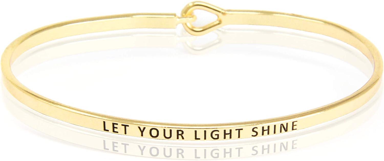 SM Inspirational Positive Message Engraved Multi Color Thin Cuff Bangle Bracelets for Women (Let Your Light Shine - Gold/Black)