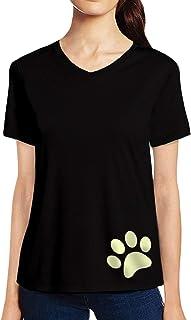 Pooplu Womens Dog Paw Design Cotton Printed V Neck Half Sleeves Black & White T-Shirt. Animal Tshirts