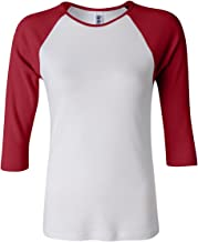 Bella + Canvas Womens 1x1 Baby Rib 3/4-Sleeve Contrast Raglan T-Shirt (B2000)