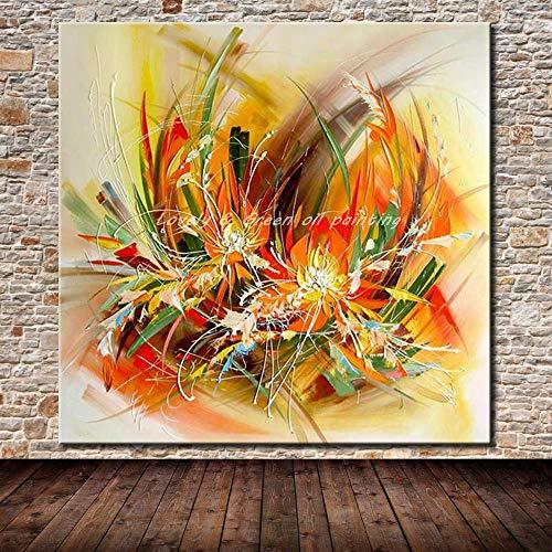 CYSHYH Artista Moderno Flores Abstractas Pintadas A Mano Pintura Al Óleo sobre Lienzo Pintura De Pared Imagen De Arte De Pared para Sala De Estar Decoración del Hogar 80X80Cm