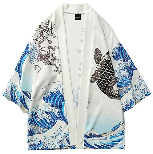 LifeHe Men's Japan Kimono Cardigan Casual Open Front Coat (Fish White, XL)