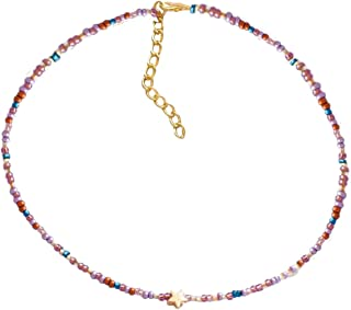 Althrorry Seed Bead Choker Colorful Boho Beaded Choker Necklace Jewelry for Women Girls