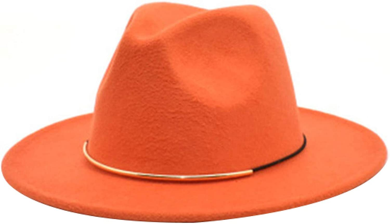 Womens Winter Wide Brim Felt Fedora Bright Color Panama Hat Stylish Floppy Wool Gangster Hat for Outdoor Church