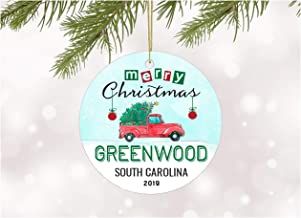 Christmas Ornaments 2019 Christmas Tree Greenwood South Carolina Xmas Decorations Gift Idea Rustic Holiday Tree Ceramic Unique Home Sweet Home State Decoration Anniversary 3