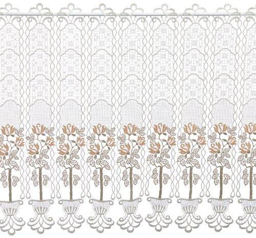 Plauener Spitze by Modespitze, Store Bistro Gardine Scheibengardine mit Stangendurchzug, hochwertige Stickerei, Höhe 62 cm, Breite 144 cm, Creme/Beige/Lachs