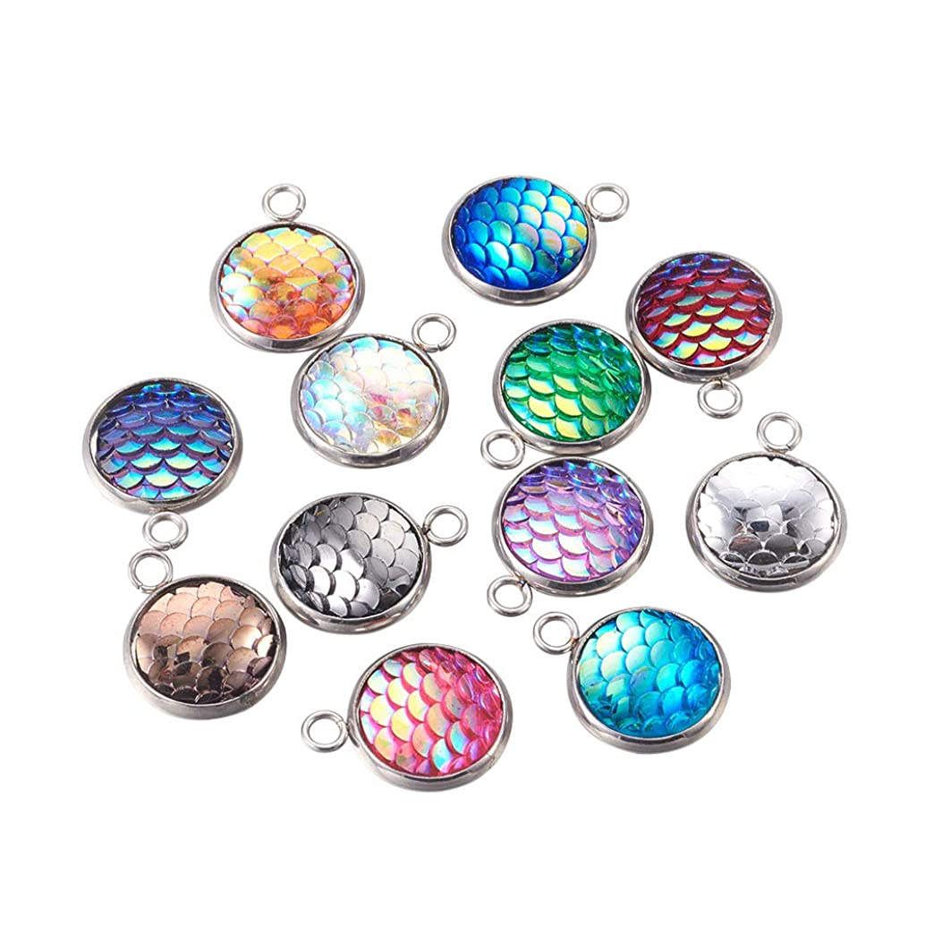 PH PandaHall 30pcs Mixed Color Flat Round with Mermaid Fish Scale Shaped Resin Pendants with 304 Stainless Steel Finding for Jewelry Making
