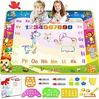 Aqua Magic Doodle Drawing Mat - 40x30 Inches Large Color Water Writing Painting Board for Kids Baby Toddler - Mess Free Educational Toys Xmas Gift for Boy Girl Age 2 3 4 5 6 7 8 Year Old