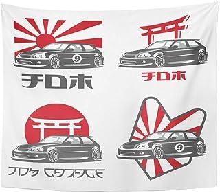 Xrknvf Tapestry Old Japanese Car Emblems Badges White JDM Garage The Japan Drift Sport Not Easy to Deform Comfortable Envi...