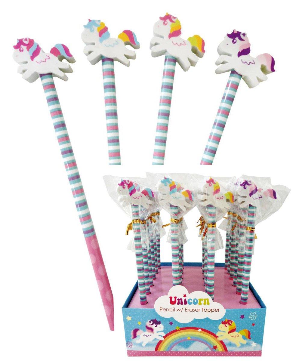6 Unicorn Pencils With Eraser Ideal Children/'s Birthday Party Bag Filler