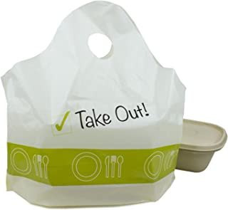 "500 pc ""Take Out!"" Plastic Carry-Out, To Go Shopping Bags"