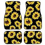 FOR U DESIGNS Black Carpet Floor Mats Set for Sedan SUV Truck, 4PCS Sunflower Design Car Mat Protector for Carpet