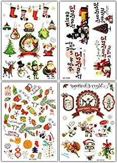 4pcs Merry Christmas fake temp tattoo stickers in one package,it including gloves,cake,balloon,Santa Claus,snowman,bell,ball,candles,stars,candy,sled,wreath,gift,christmas tree,deer,sock,etc.