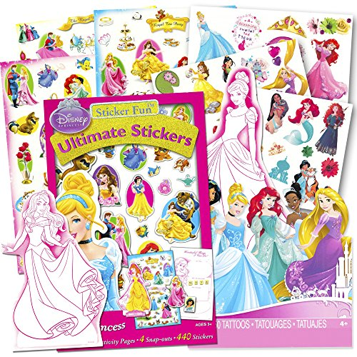 Disney Princess Stickers and Tattoos Party Favor Pack - Over 400 Stickers & 50 Temporary Tattoos