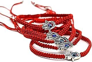 juanxian W3871-1 Pieza de hámsa, Cuerda roja, Ojo de Mano, Ojo Turco de la Suerte, Kabbalah Boho, Festival, Chic, joyería para Mujeres y Hombres con Bolsa Negra