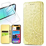 QC-EMART Coque pour iPhone 12 PRO avec Protection d'Écran, Coque Or Fleur 3D Relief Étui Portefeuille à Rabat Housse en Cuir Fentes Cartes Magnétique Case Cover pour iPhone 12 PRO