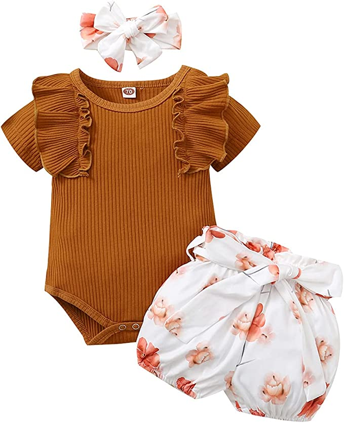 AMAWMW Baby Girls Ruffle Ribbed Romper Bodysuit Sunflower Shorts Headband 3PCs Outfits
