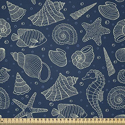 ABAKUHAUS Conchas De Mar Tela por Metro, Habitantes Marinos, Microfibra Decorativa para Artes y Manualidades, 2M (230x200cm), Azul Oscuro Beige