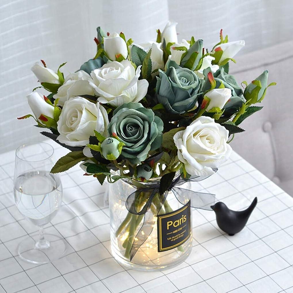 キャビン政策高さ造花 造花ブーケのフェイクシルクのバラ人工レアルタッチフラワーフェイクブライダルブーケのホームウェディングパーティーの装飾10個入り (色 : 緑, サイズ : 37CM)