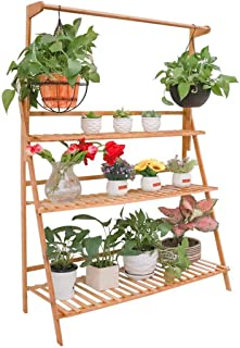 Bamboo Hanging Plant Stand 3 Tier Ladder Flower Rack for Garden Hanging Baskets Succulent Planters (100x40x96cm)