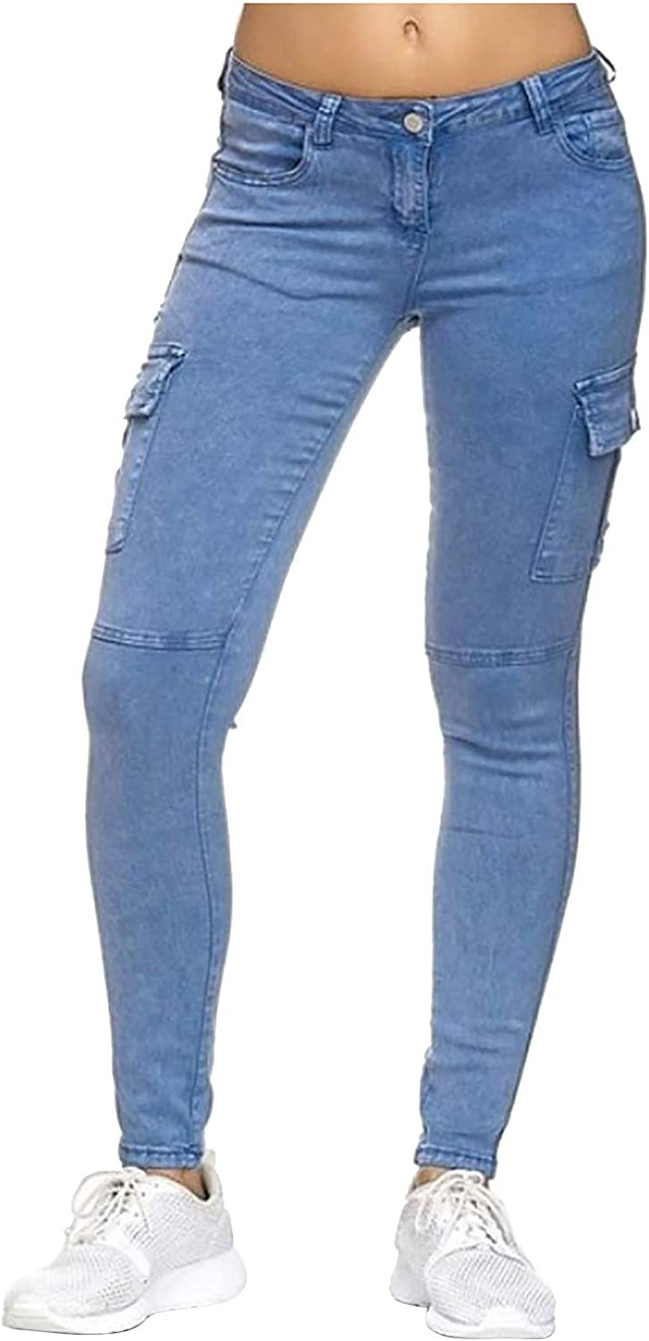 Women's Stretch Skinny Jeans High Waisted Cargo Pocket Denim Pants Jogger Slim Fit Distressed Jeans Pants