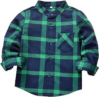 Kids Boy's Girl's Long Sleeve Button Down Cotton Plaid Flannel Shirts