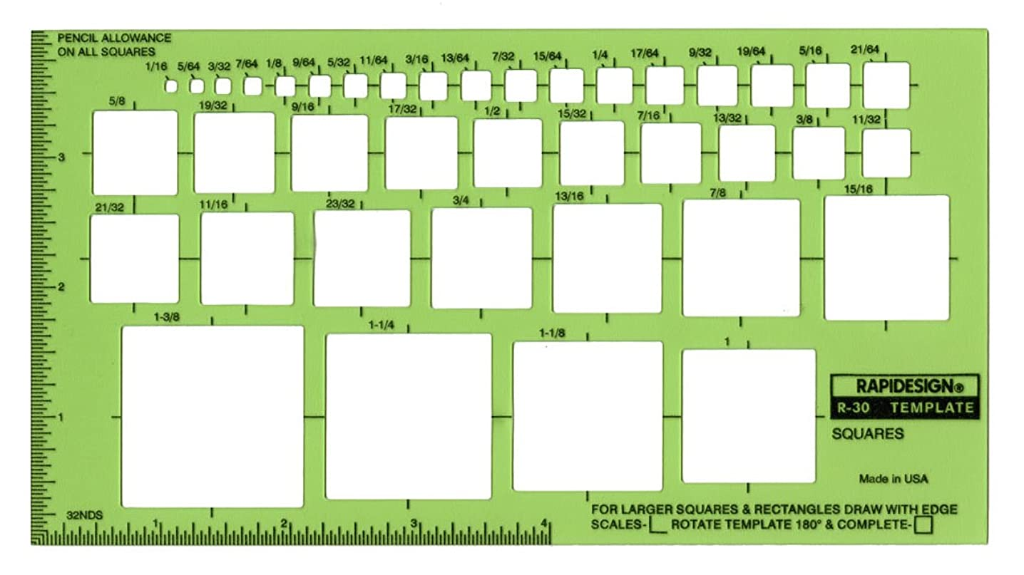 Rapidesign Squares Template, 1 Each (R30)
