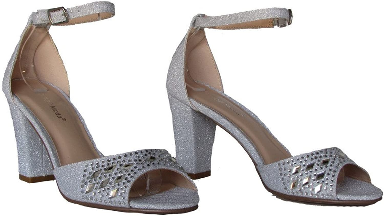 Top Moda Jennifer 20 Womens Sequin Rhinestone High Heel D'Orsay Peep Toe Pumps Silver