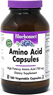 Bluebonnet Amino Acid 750 mg Vitamin Capsules, 180 Count, White