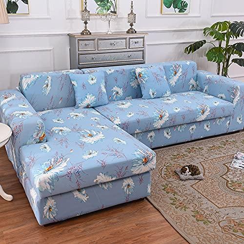 ASCV Funda de sofá para sofá de Todos los tamaños Funda de sofá elástica Universal para Sala de Estar Protector de Cubierta Decorativa A3 3 plazas