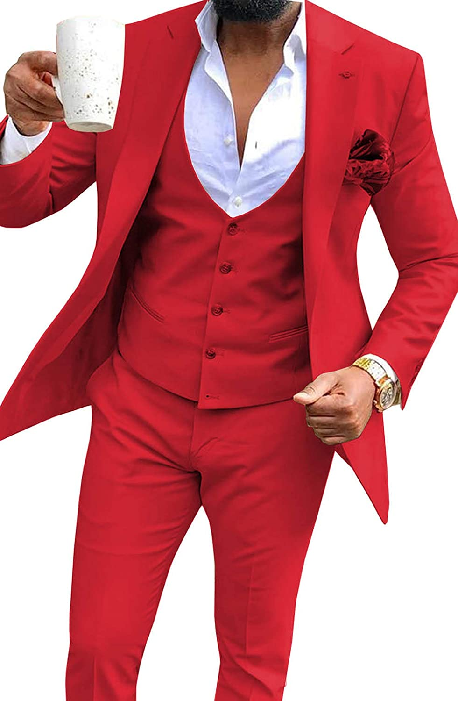 TBB-Tux Mens Suit 3-Piece Notched Lapel Business Tuxedos Groomsmen Wedding(Blazer+Pants+Vest)