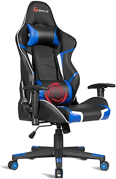 Goplus Massage Gaming Chair Reclining Backrest Handrails And Seat Height Adjustment Racing Computer Office Chair Ergonomic High Back PU Leather Swivel Game Chair With Headrest And Lumbar Cushion