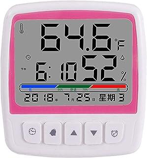 XYXZ Termómetro Digital para Habitación, Higrómetro, Medidor De Temperatura con Alarma, Reloj Led, Calendario para Tempera...