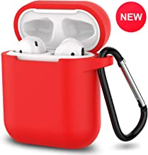 AirPods Case,SATLITOG Protective Silicone Cover Compatible with Apple AirPods 2 and 1(Not for Wireless Charging Case)(Red)