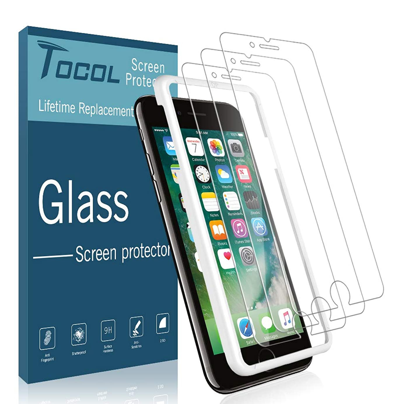 TOCOL [3 Pack] Screen Protector for iPhone 7/8, [3D Touch] Tempered Glass 9H Hardness, Anti-Scratch,Bubble Free with Lifetime Replacement Warranty hlcrci2612