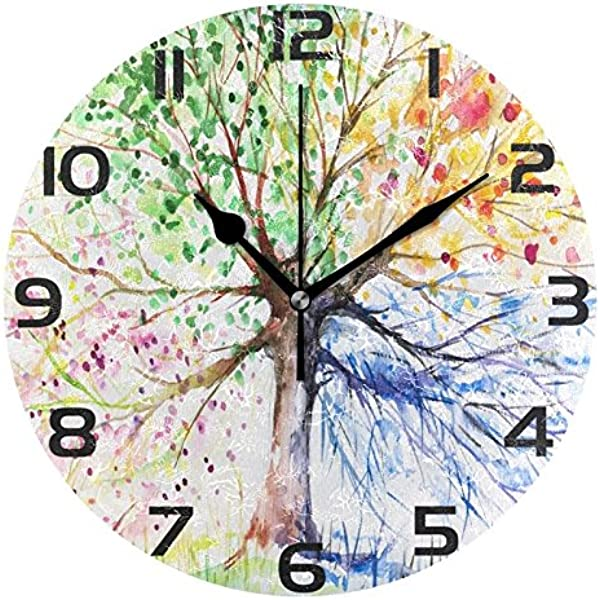 ALAZA Colorful Spring Tree Of Life Round Acrylic Wall Clock Silent Non Ticking Oil Painting Home Office School Decorative Clock Art