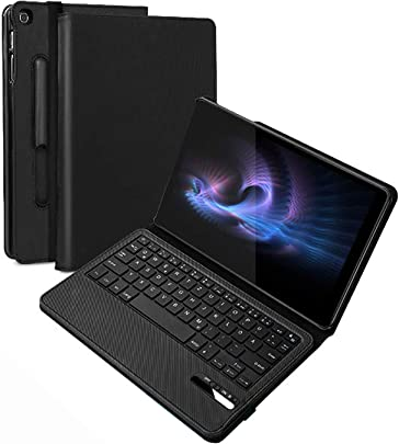 Jelly Comb Samsung Galaxy Tab 10 1 Zoll 2019 Tastatur H lle  Wiederaufladbar Abnehmbar QWERTZ Bluetooth Tastatur und Sch tzh lle f r Samsung Tab T515 T510 10 1 2019  Schwarz
