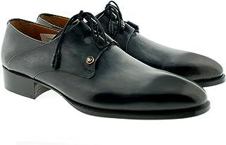 [Oscar William] Grey/Black Casper Men's Luxury Classic Handmade Leather Shoes