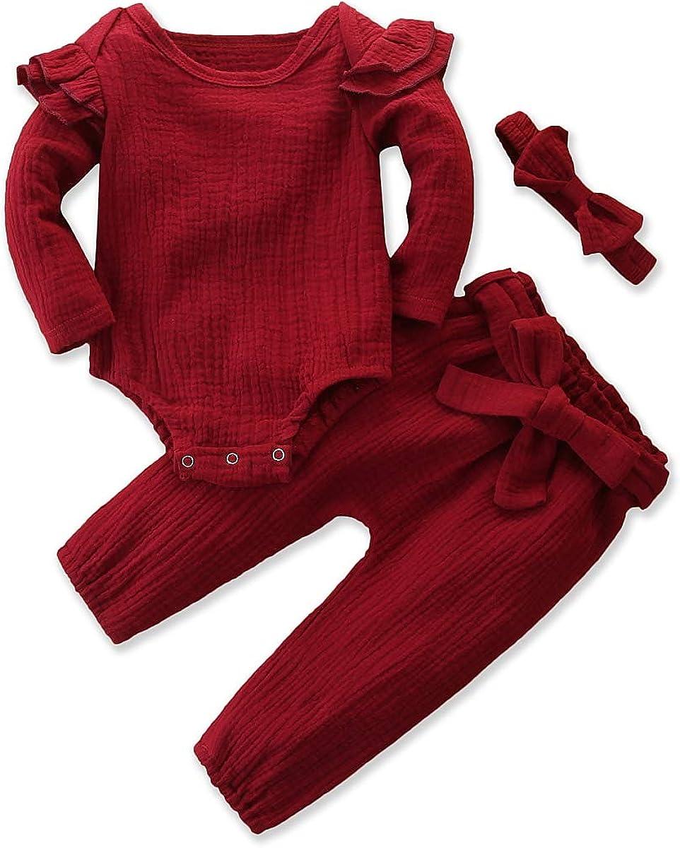 Mubineo Infant Baby Girl Spring Fall Cozy Basic Plain Sleep N Play Ruffle Romper Pant Headband 3pcs Outfit