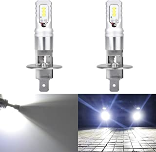 KATUR Extremenly Bright H1 Daytime Running Bulbs or Fog Lights TOP Advanced CSP LED Chips Car DRL Led- 6500K Xenon White 1600LM Waterproof IP68 80W - 3 Yr Warranty
