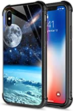 iPhone XR Case,9H Tempered Glass iPhone XR Cases for Men Boys, Night Moon Pattern Design Shockproof Anti-Scratch Case for Apple iPhone XR 6.1 inch Night Moon