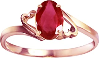 Galaxy Gold Genuine 14k Solid Rose Gold Ring with 1.15 Carat Oval-Shaped Ruby