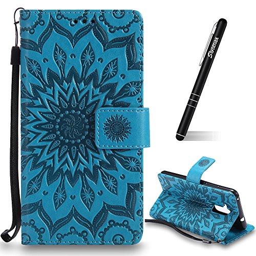 Schutzhülle für Huawei Honor 5C Blau,Slynmax Mandala Blume Hülle Wallet Hülle Handyhülle für Huawei Honor 5C Tasche Klapphülle Flip Cover Ledertasche Brieftasche Lederhülle Handytasche,Flower