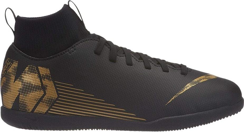 Nike Superflyx 6 Club IC, Chaussures de Football Mixte Enfant, Noir (noir MTLC Vivid or 077), 37 EU