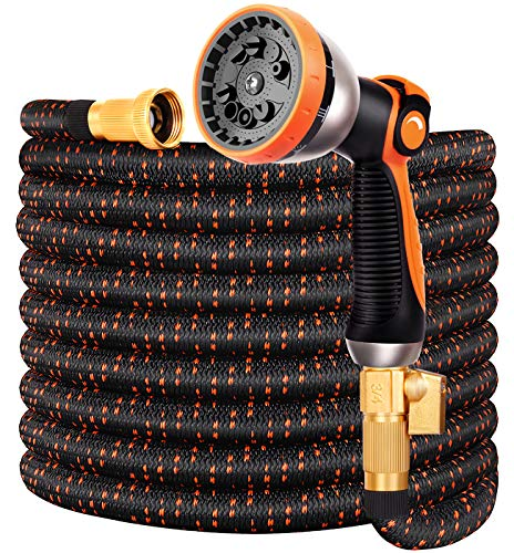 "Double Couple Garden Hose Flexible Car Wash Water Hose - Super Durable 3750D,4-Layers Latex,3/4"" Nozzle Solid Brass Connectors with 10-Way Professional Zinc Water Spray Nozzle(50 FT, Orange)"