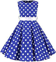 Vintage Girls Dresses Polka Dot Swing Rockabilly Dresses for Girls for Party Special Occasion Dress Up Costumes
